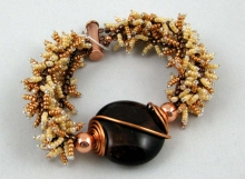 Copper Fringe Bracelet with Large Coin Focal