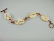 Copper Wire Wrapped Mother of Pearl Bracelet
