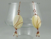 Copper Wire Wrapped Mother of Pearl Earrings
