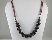 Obsidian Crocheted Rope with Accent Bead Necklace