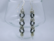 Hematite Earrings with Half Byzantine Links