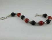 Black Onyx &amp; Red Coral Bracelet