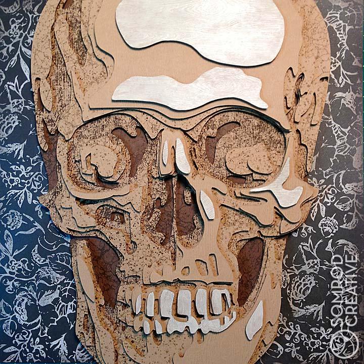 Wood Skull Optograph